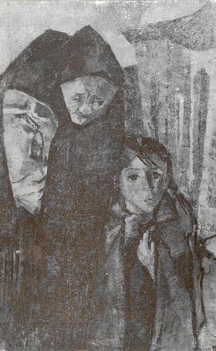Mujer con mantón a comprar el pan